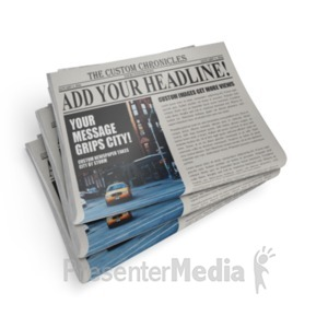ID# 18458 - Newspaper Stack - Presentation Clipart