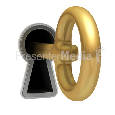 Key Hanging Out Keyhole PowerPoint Clip Art