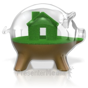 ID# 18463 - Piggy Bank Glass Real Estate - Presentation Clipart