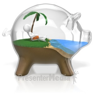 ID# 18474 - Piggy Bank Vacation - Presentation Clipart