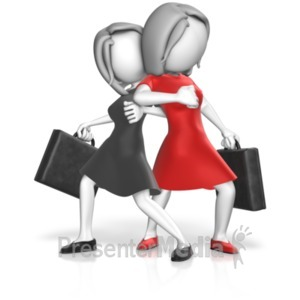 ID# 18496 - Dominance Businesswomen Stance - Presentation Clipart