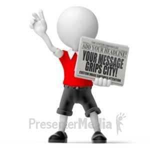 ID# 18501 - Paperboy Newspaper - Presentation Clipart