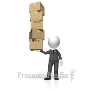 ID# 18504 - Businessman Hold Boxes - Presentation Clipart