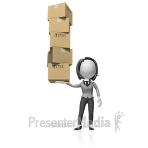 ID# 18505 - Business Woman Hold Boxes - Presentation Clipart