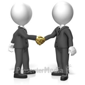 ID# 18518 - Golden Handshake - Presentation Clipart