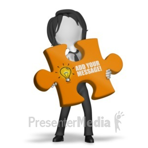 ID# 18528 - Woman With Puzzle Piece - Presentation Clipart