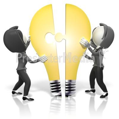 Businesswomen Merge Idea PowerPoint Clip Art