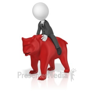 ID# 18584 - Businessman Ride Bear - Presentation Clipart