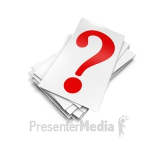 ID# 18603 - Question Mark Card Pile - Presentation Clipart
