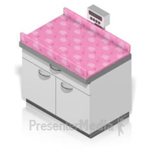 ID# 18623 - Infant Weighing Station Isometric - Presentation Clipart