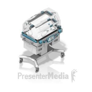 ID# 18628 - NICU Baby Incubator Isometric - Presentation Clipart
