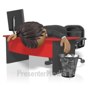 ID# 18631 - Businessman Slump Desk - Presentation Clipart