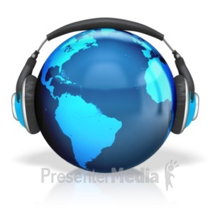 ID# 18638 - Headphones Earth - Presentation Clipart