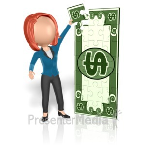 ID# 18652 - Business Woman Money Puzzle - Presentation Clipart