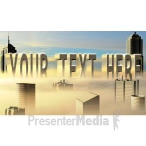 ID# 18707 - City In The Clouds Custom Text - Presentation Clipart