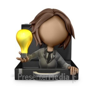 ID# 18715 - Businesswoman Reveal Light Bulb Idea - Presentation Clipart