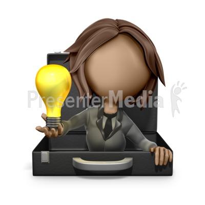 Businesswoman Reveal Light Bulb Idea PowerPoint Clip Art