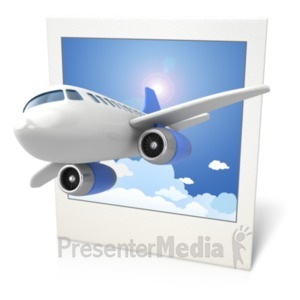 ID# 18718 - Airplane Clouds Photo 3D - Presentation Clipart