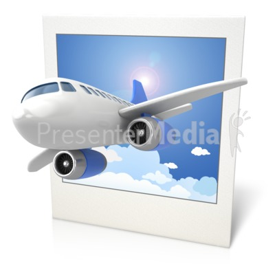 Airplane Clouds Photo 3D PowerPoint Clip Art