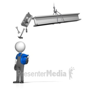 ID# 18726 - Toolbox Falling On Worker - Presentation Clipart