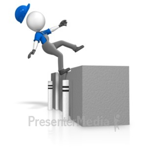 ID# 18728 - Figure Falling Off Loading Dock - Presentation Clipart