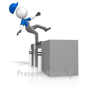ID# 18728 - Figure Falling Off Loading Dock - Presentation Clipart