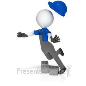 ID# 18729 - Worker Trip Over Cinder Blocks - Presentation Clipart