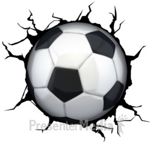 ID# 18763 - Crack Wall Soccerball - Presentation Clipart