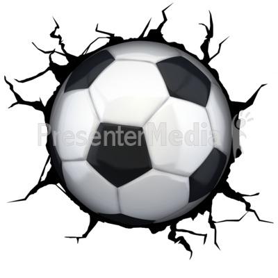 Crack Wall Soccerball PowerPoint Clip Art