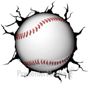 ID# 18766 - Crack Wall Baseball - Presentation Clipart