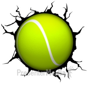 ID# 18768 - Crack Wall Tennisball - Presentation Clipart