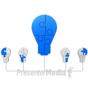 ID# 18922 - Light Bulb Puzzle Build Diagram - Presentation Clipart