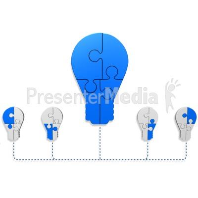 Light Bulb Puzzle Build Diagram PowerPoint Clip Art
