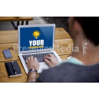 Man Sitting On Laptop Presentation clipart