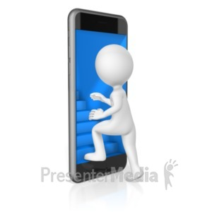 ID# 18941 - Stairs Lead Into Phone - Presentation Clipart