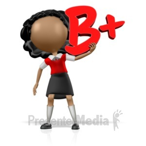 ID# 18961 - School Girl Holding a B+ - Presentation Clipart