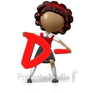 ID# 18964 - School Girl Holding a D- - Presentation Clipart