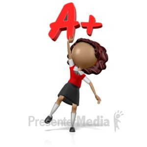 ID# 18970 - School Girl Holding an A+ - Presentation Clipart