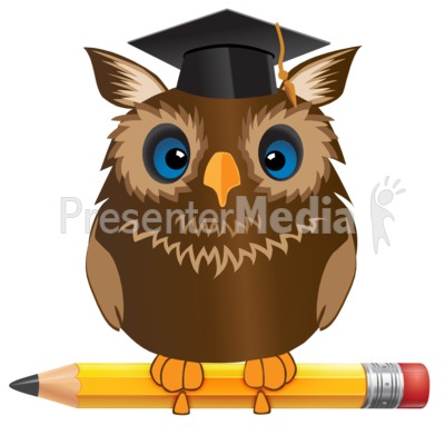 Owl Standing On Pencil PowerPoint Clip Art