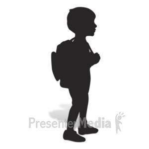 ID# 19045 - School Boy Silhouette - Presentation Clipart