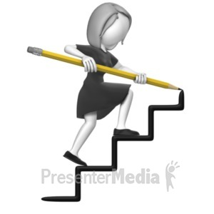 ID# 19060 - Business Woman Draw Stairs - Presentation Clipart