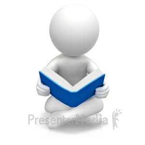 ID# 19062 - Figure Sitting Reading Book - Presentation Clipart