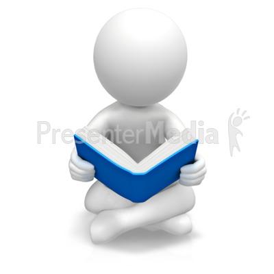 Figure Sitting Reading Book PowerPoint Clip Art