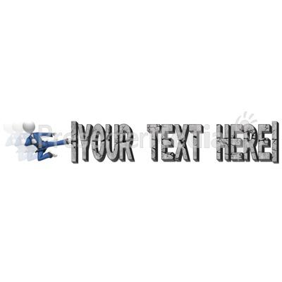 Break Text Karate Kick PowerPoint Clip Art
