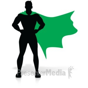 ID# 19155 - Hero Super Stance Silhoutte - Presentation Clipart