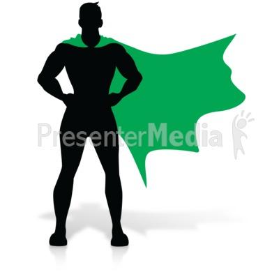 Hero Super Stance Silhoutte PowerPoint Clip Art