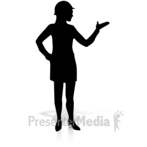 ID# 19157 - Woman Display Construction Silhoutte - Presentation Clipart