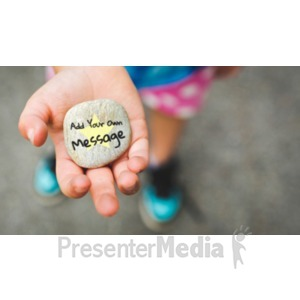 ID# 19160 - Girl Holding Rock Custom - Presentation Clipart