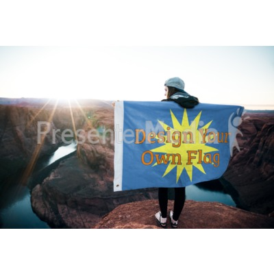 Girl Holding Flag Outside Custom Presentation clipart