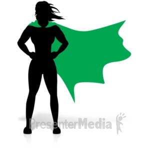 ID# 19179 - Female Hero Super Stance - Presentation Clipart
